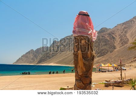 Egypt the Red Sea. Dahab. The edge of the surf algae and corals. Landscape. The colors are blue yellow green. On the beach is a pillar with a traditional Arabic handkerchief
