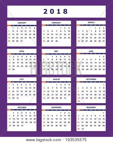 Classic american calendar for wall year 2018 on the violet background. English language. Week starts on Sunday. There are all 12 month. eps 10