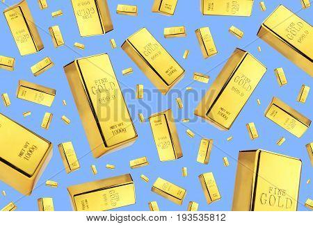Gold bars rain on blue background .