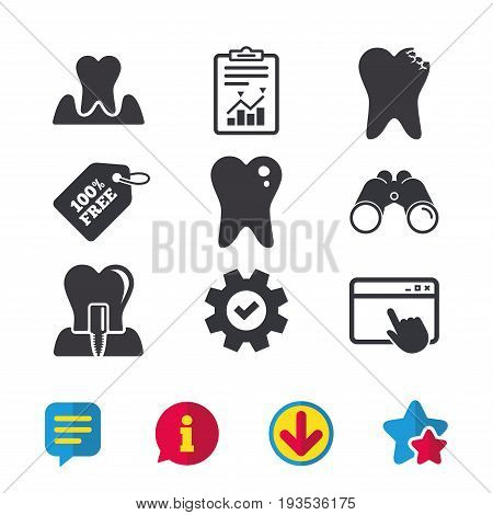 Dental care icons. Caries tooth sign. Tooth endosseous implant symbol. Parodontosis gingivitis sign. Browser window, Report and Service signs. Binoculars, Information and Download icons. Vector