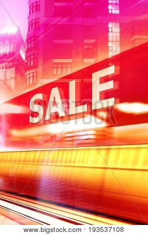 Shop Window With Sale Sign at night