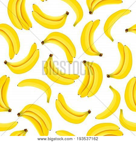 Yellow Banana seamless pattern vector. Bunch of Ripe bananas on a white background. For food design, restaurant, wrapping, health care products, textile. Can be used as background, label, decoration