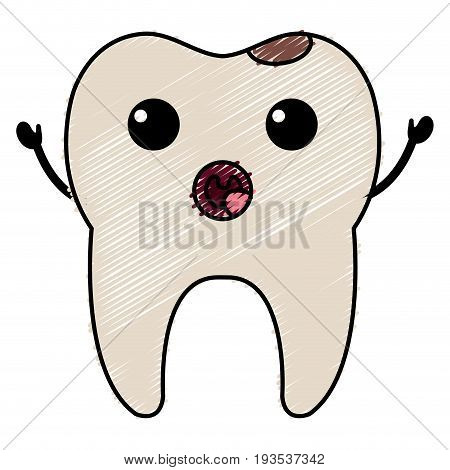 tooth character with caries vector illustration design