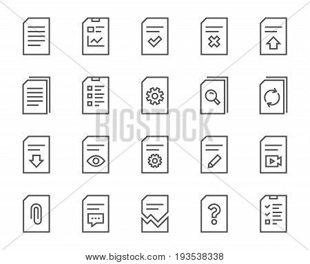 Document Management line icons. Set of Report, Checklist and Copy signs. Download file, Remove and Attach clip symbols. Search, Edit and Corrupt file. Quality design elements. Editable stroke. Vector