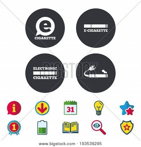E-Cigarette with plug icons. Electronic smoking symbols. Speech bubble sign. Calendar, Information and Download signs. Stars, Award and Book icons. Light bulb, Shield and Search. Vector