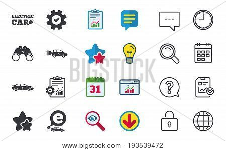 Electric car icons. Sedan and Hatchback transport symbols. Eco fuel vehicles signs. Chat, Report and Calendar signs. Stars, Statistics and Download icons. Question, Clock and Globe. Vector