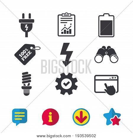 Electric plug icon. Fluorescent lamp and battery symbols. Low electricity and idea signs. Browser window, Report and Service signs. Binoculars, Information and Download icons. Stars and Chat. Vector