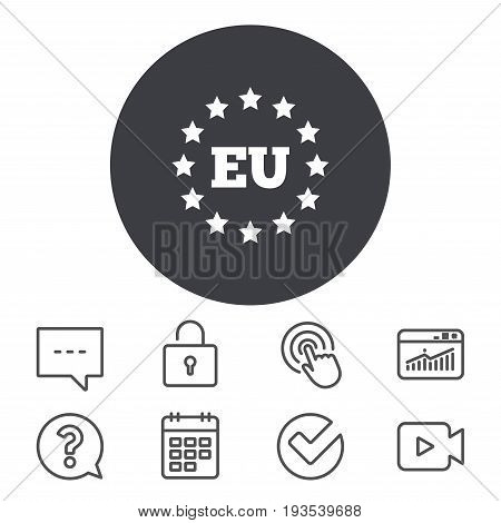 European union icon. EU stars symbol. Calendar, Locker and Speech bubble line signs. Video camera, Statistics and Question icons. Vector