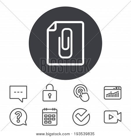 File annex icon. Paper clip symbol. Attach symbol. Calendar, Locker and Speech bubble line signs. Video camera, Statistics and Question icons. Vector