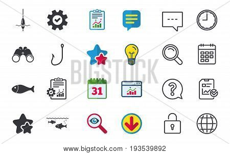 Fishing icons. Fish with fishermen hook sign. Float bobber symbol. Chat, Report and Calendar signs. Stars, Statistics and Download icons. Question, Clock and Globe. Vector