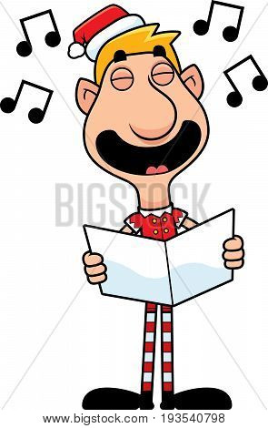 Cartoon Christmas Elf Caroling