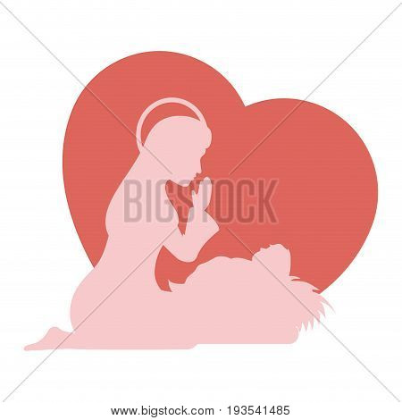 heart with virgin mary icon over white background colorful design vector illustration