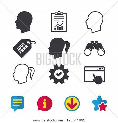 Head icons. Male and female human symbols. Woman with pigtail signs. Browser window, Report and Service signs. Binoculars, Information and Download icons. Stars and Chat. Vector