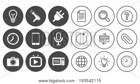 Home appliances, device icons. Electronics signs. Lamp, electrical plug and photo camera symbols. Document, Globe and Clock line signs. Lamp, Magnifier and Paper clip icons. Vector