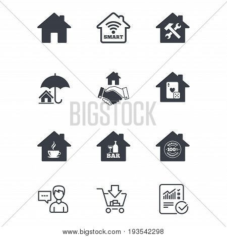 Real estate icons. House insurance, broker and casino with bar signs. Handshake deal, coffee and smart house symbols. Customer service, Shopping cart and Report line signs. Vector