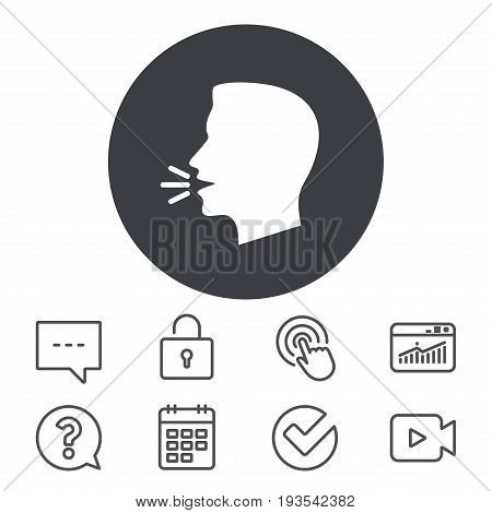 Talk or speak icon. Loud noise symbol. Human talking sign. Calendar, Locker and Speech bubble line signs. Video camera, Statistics and Question icons. Vector