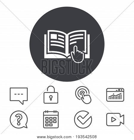 Instruction sign icon. Manual book symbol. Read before use. Calendar, Locker and Speech bubble line signs. Video camera, Statistics and Question icons. Vector