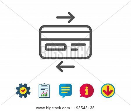 Credit card line icon. Bank payment method sign. Online Shopping symbol. Report, Service and Information line signs. Download, Speech bubble icons. Editable stroke. Vector