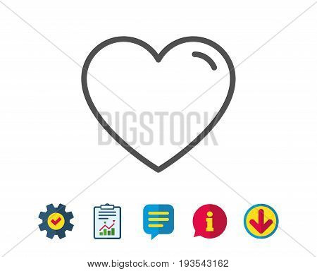 Heart line icon. Love sign. Valentines Day sign symbol. Report, Service and Information line signs. Download, Speech bubble icons. Editable stroke. Vector