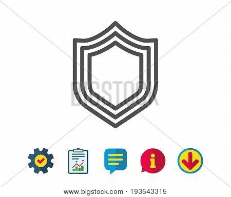 Shield line icon. Protection or Security sign. Defence or Guard symbol. Report, Service and Information line signs. Download, Speech bubble icons. Editable stroke. Vector
