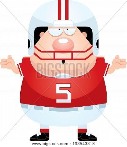 Confused Cartoon Football Player