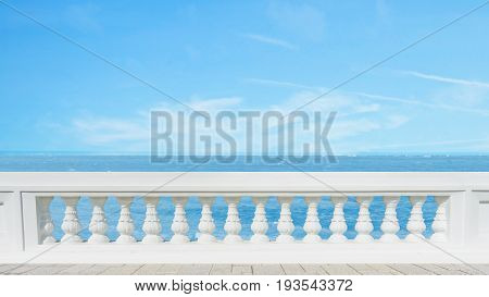 classic roman concrete railing outside building on the terrace pavement floor at the sea view with the blue sky on background