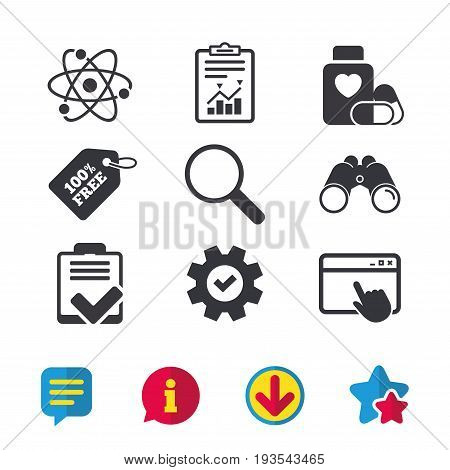 Medical icons. Atom, magnifier glass, checklist signs. Medical heart pills bottle symbol. Pharmacy medicine drugs. Browser window, Report and Service signs. Binoculars, Information and Download icons