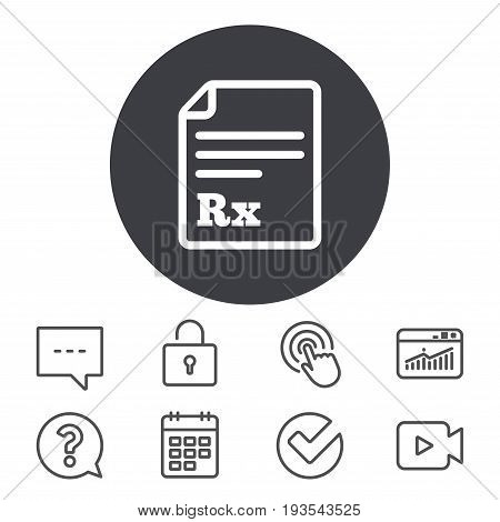 Medical prescription Rx sign icon. Pharmacy or medicine symbol. Calendar, Locker and Speech bubble line signs. Video camera, Statistics and Question icons. Vector