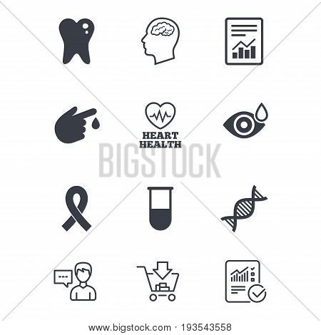 Medicine, medical health and diagnosis icons. Blood test, dna and neurology signs. Tooth, report symbols. Customer service, Shopping cart and Report line signs. Online shopping and Statistics. Vector