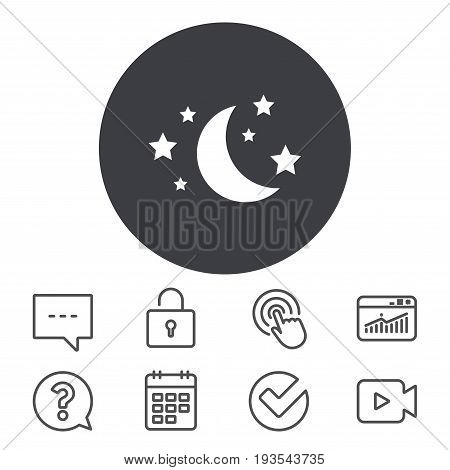 Moon and stars icon. Sleep dreams symbol. Night or bed time sign. Calendar, Locker and Speech bubble line signs. Video camera, Statistics and Question icons. Vector
