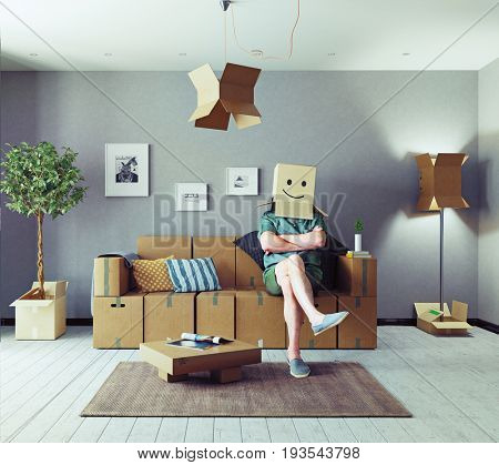 The room with card cardboard boxes instead of furniture and the man with box on the head. Media mixed concept