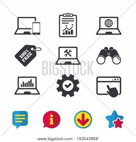 Notebook laptop pc icons. Internet globe sign. Repair fix service symbol. Monitoring graph chart. Browser window, Report and Service signs. Binoculars, Information and Download icons. Stars and Chat