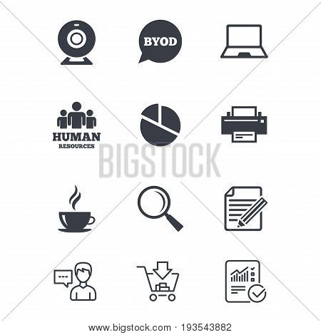 Office, documents and business icons. Pie chart, byod and printer signs. Report, magnifier and web camera symbols. Customer service, Shopping cart and Report line signs. Online shopping and Statistics