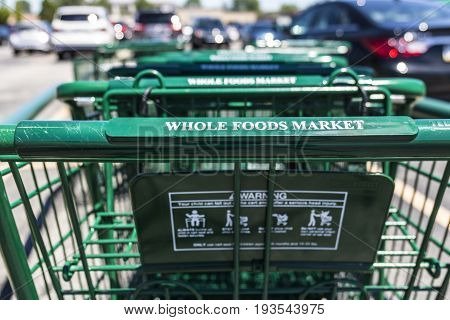 Indianapolis - Circa July 2017: Whole Foods Market. Amazon announced an agreement to buy Whole Foods for $13.7 billion I