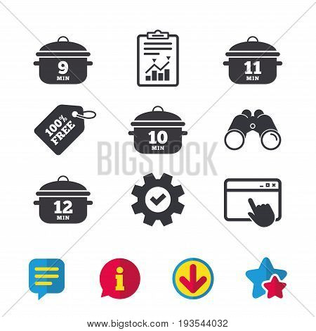 Cooking pan icons. Boil 9, 10, 11 and 12 minutes signs. Stew food symbol. Browser window, Report and Service signs. Binoculars, Information and Download icons. Stars and Chat. Vector