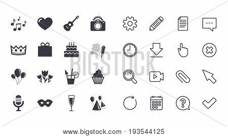 Set of Celebration, Birthday and Party icons. Fireworks, Air balloon and Champagne glass signs. Gift box, Cake and Photo camera symbols. Music and cocktails. Calendar, Document and Download line signs