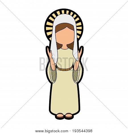 virgin mary icon over white background colorful design vector illustration