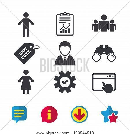 Businessman person icon. Group of people symbol. Man and Woman signs. Browser window, Report and Service signs. Binoculars, Information and Download icons. Stars and Chat. Vector