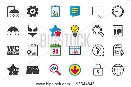 Swimming pool icons. Shower water drops and swimwear symbols. WC Toilet sign. Trunks and women underwear. Chat, Report and Calendar signs. Stars, Statistics and Download icons. Vector