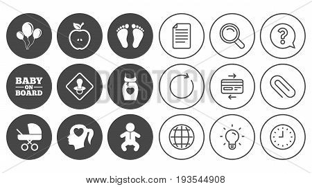 Pregnancy, maternity and baby care icons. Air balloon, baby carriage and pacifier signs. Footprint, apple and newborn symbols. Document, Globe and Clock line signs. Vector