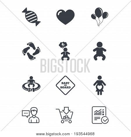 Pregnancy, maternity and baby care icons. Candy, strollers and fasten seat belt signs. Footprint, love and balloon symbols. Customer service, Shopping cart and Report line signs. Vector