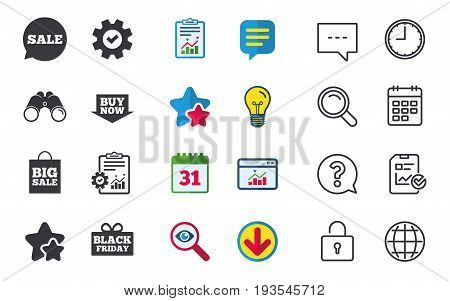Sale speech bubble icons. Buy now arrow symbols. Black friday gift box signs. Big sale shopping bag. Chat, Report and Calendar signs. Stars, Statistics and Download icons. Question, Clock and Globe