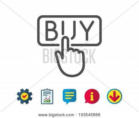 Click to Buy line icon. Online Shopping sign. E-commerce processing symbol. Report, Service and Information line signs. Download, Speech bubble icons. Editable stroke. Vector