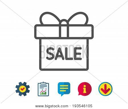 Gift box line icon. Present or Sale sign. Birthday Shopping symbol. Package in Gift Wrap. Report, Service and Information line signs. Download, Speech bubble icons. Editable stroke. Vector