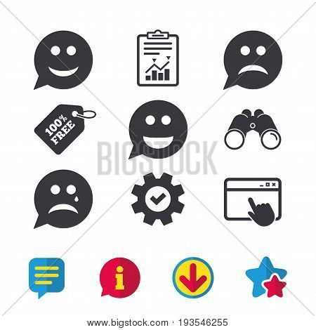 Speech bubble smile face icons. Happy, sad, cry signs. Happy smiley chat symbol. Sadness depression and crying signs. Browser window, Report and Service signs. Vector