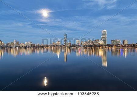 A nice view of Boston Skyline on Night from Cambridge, Massachusetts