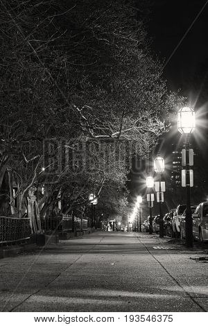 The Streets of Boston city on the night