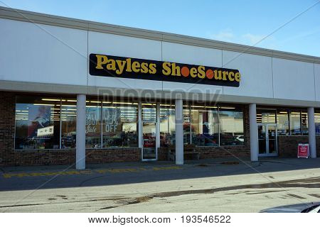 BAY VIEW, MICHIGAN / UNITED STATES - NOVEMBER 26, 2016: One may purchase inexpensive shoes at the Payless Shoe Source.