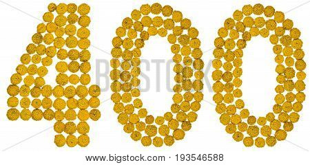 Arabic Numeral 400, Four Hundred, From Yellow Flowers Of Tansy, Isolated On White Background