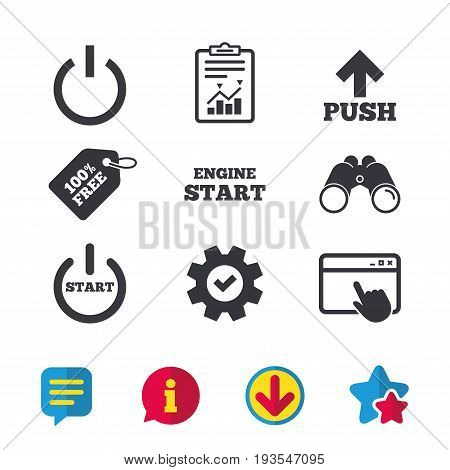 Power icons. Start engine symbol. Push or Press arrow sign. Browser window, Report and Service signs. Binoculars, Information and Download icons. Stars and Chat. Vector
